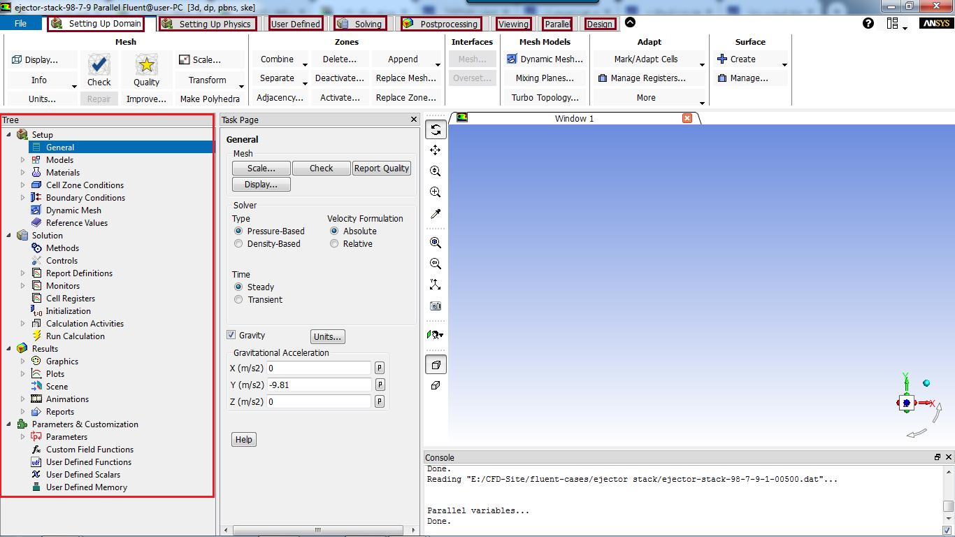 رابط گرافیکی نرم افزار Fluent