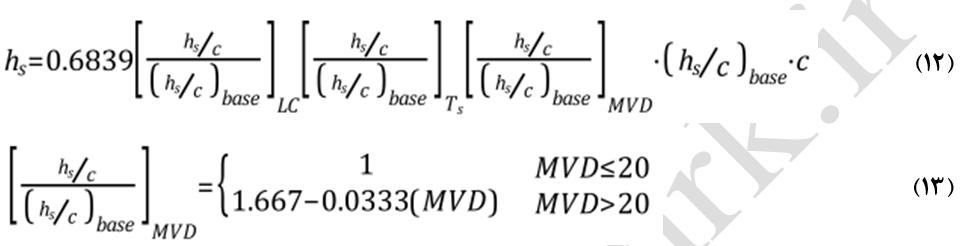معادله زبری سطح یخ زدگی شاین و همکاران