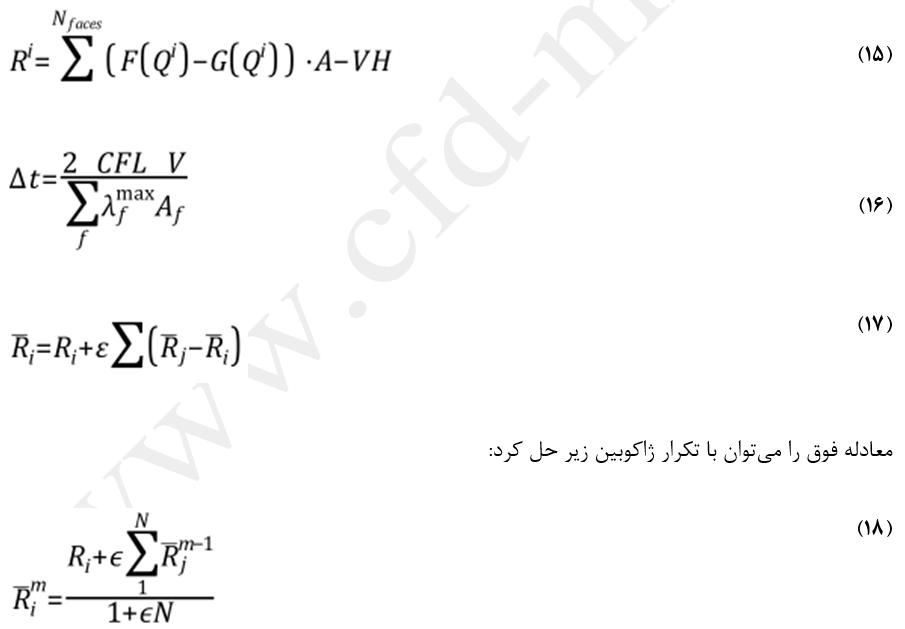 معادلات روش صریح برای جریان پایا در الگوریتم چگالی مبنا