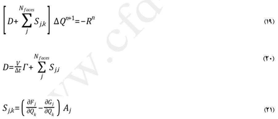 معادلات روش ضمنی در حل جریان پایا با الگوریتم چگالی مبنا