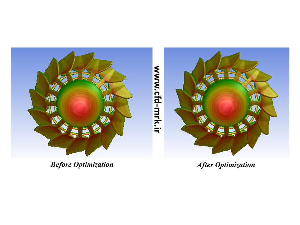 مقایسه کانتور فشار در دو حالت قبل و بعد از بهینه سازی
