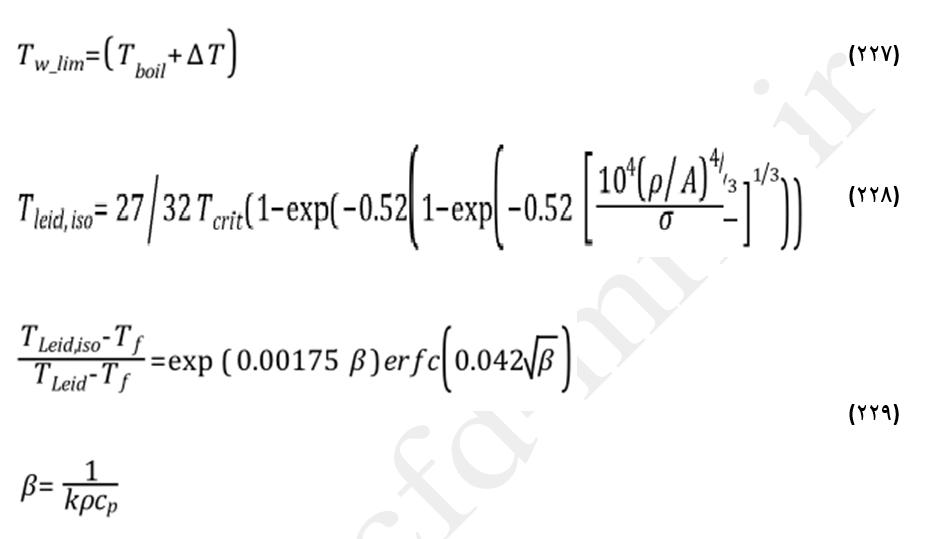 معادلات مربوط به دمای لیدنفراست