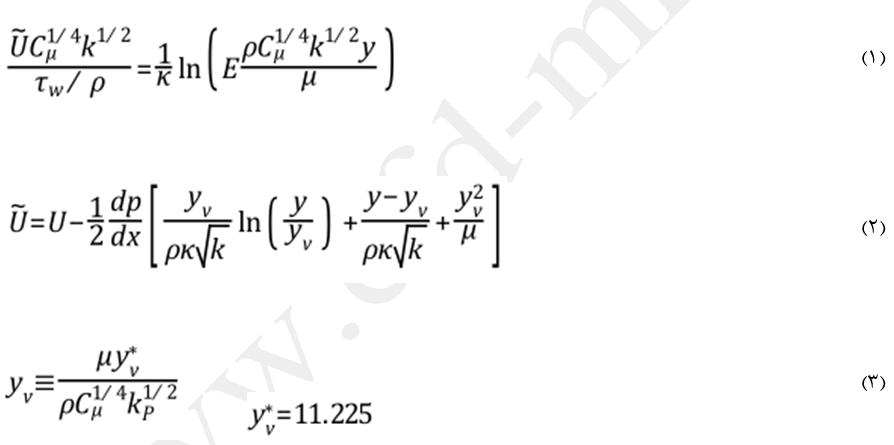 معادلات توابع دیواره نامتعادل