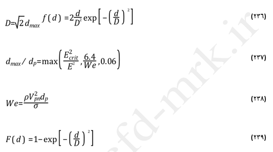 معادلات حاکم بر رژیم پاشش قطره در مدل استانتن-روتلند (The Stanton-Rutland Model)