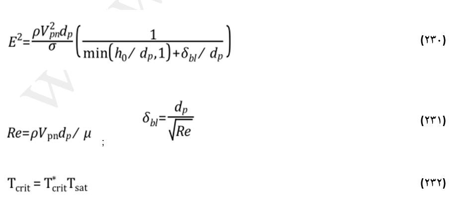 معادلات انرژی و دمای بحرانی در اندرکنش برخورد قطره-دیواره