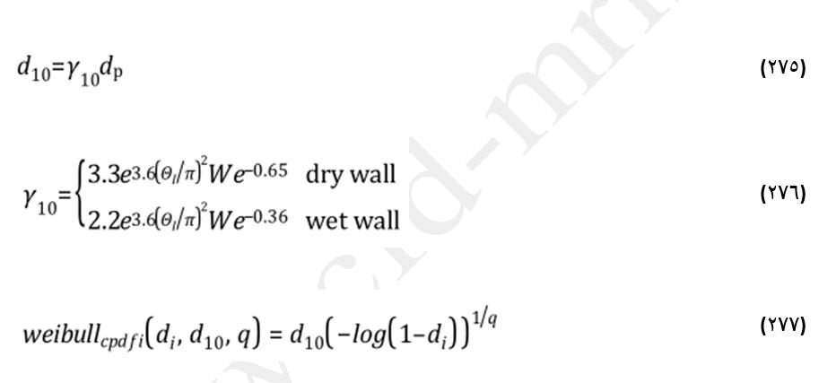 معادلات رژیم پاشش در مدل کانک